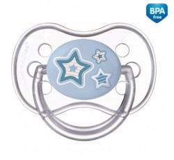 Пустышка силиконовая симметрическая Newborn baby,18+м - 22/582_blu