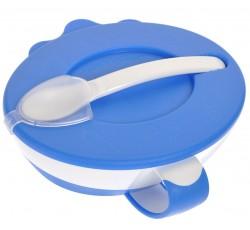Тарелка-миска с удобной ручкой, крышкой и ложкой голубая - 31/406_blu