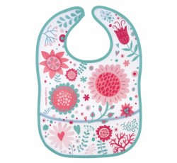 Слюнявчик пластиковый мягкий с карманом Wild Nature, розовый -9/234_pin